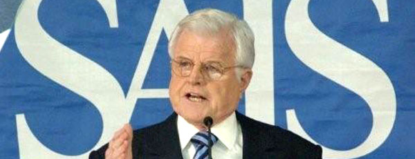 Senator Edward M. Kennedy speaks against the war in Iraq.