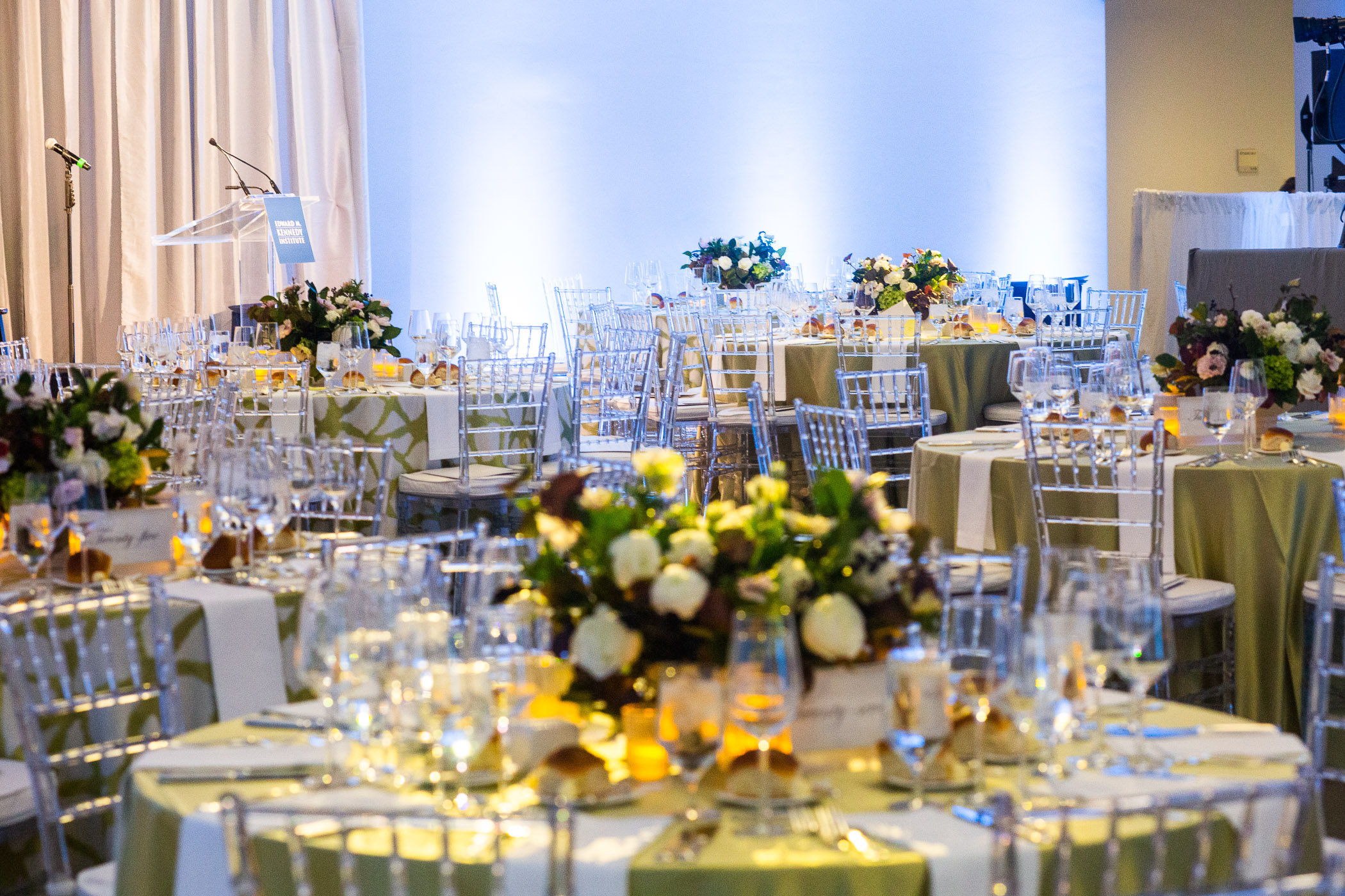 Tables with Flowers in the Surround
