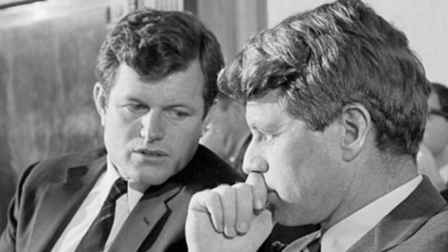 Senate Edward M. Kennedy (Ted Kennedy) confers with his brother, Robert F. Kennedy (Bobby Kennedy).