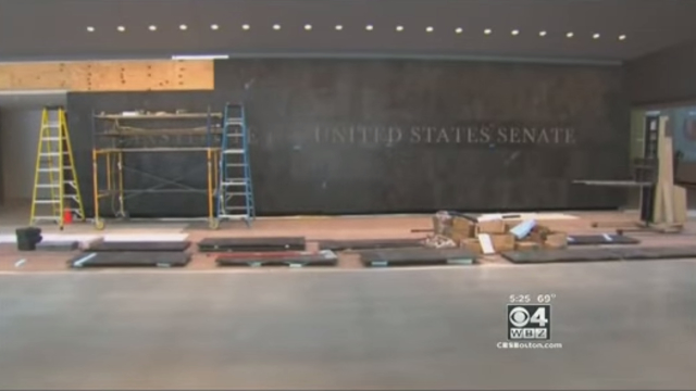 Screenshot from news footage covering Edward M. Kennedy building construction progress