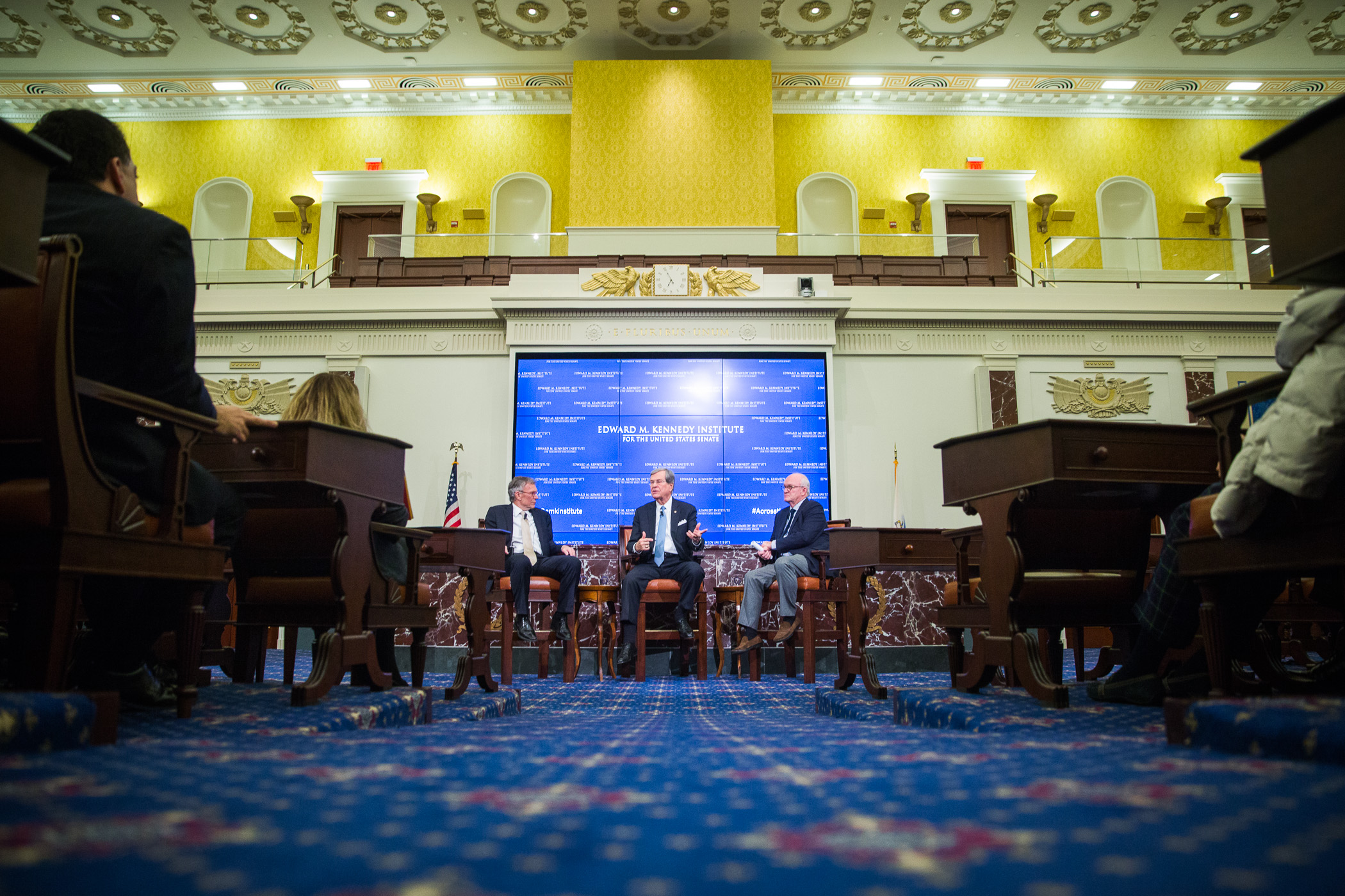 Across the Aisle public program in the full scale reproduction Senate chamber with former Senators and Majority Leaders Trent Lott and Tom Daschle