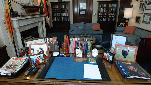 Ted Kennedy's Senate office, as seen from behind his desk. This replica of Edward M. Kennedy's office is part of the museum's special exhibit, Lion of the Senate.