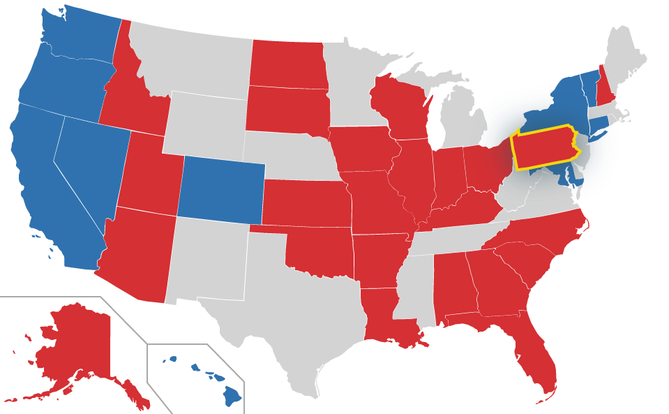 Pennsylvania highlighted on US Map