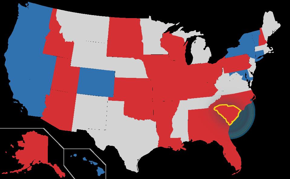 South Carolina highlighted on US Map