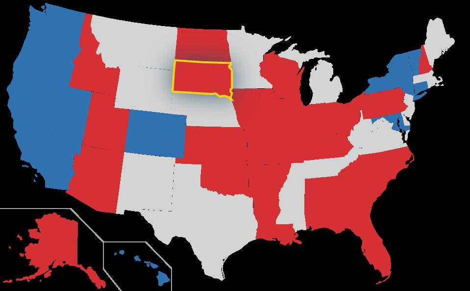 South Dakota highlighted on US Map