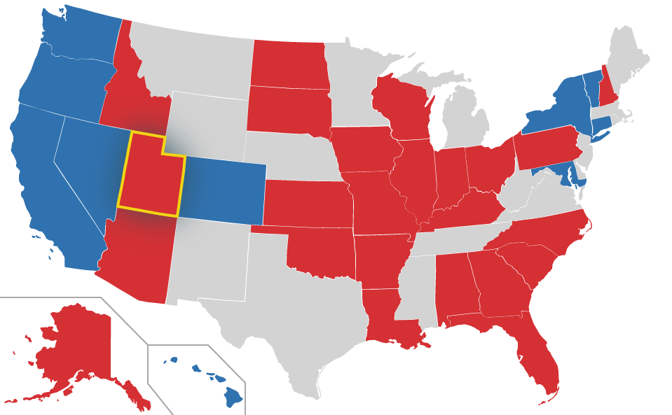 Utah highlighted on US Map