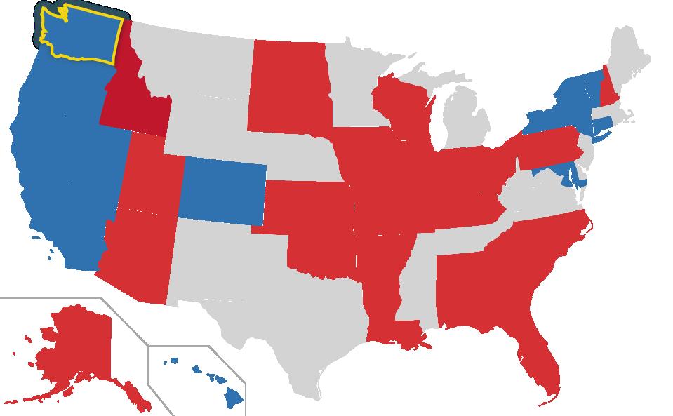 Washington highlighted on US Map