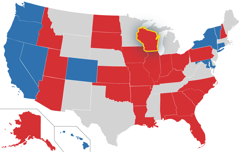Wisconsin highlighted on US Map
