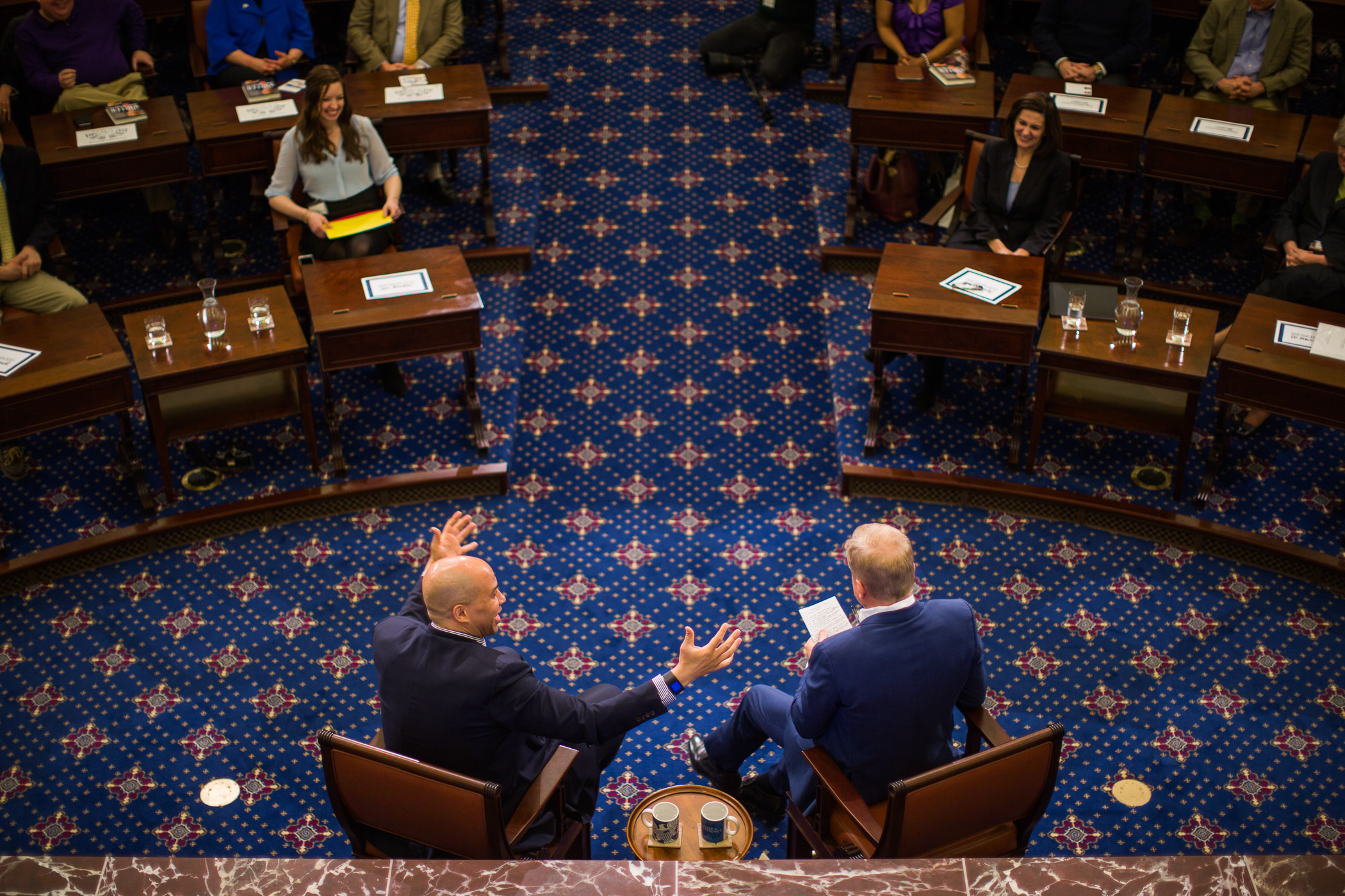 Senator Cory Booker speaks at the Edward M. Kennedy (EMK) Institute's public program, Getting to the Point, which was moderated by Tom Ashbrook