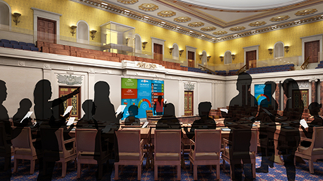 Visualisation of students actively learning during the museum's Senate Immersion Module (SIM), a dynamic education experience in the full scale, reproduction Senate Chamber.