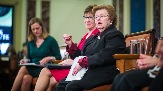 Senator Barbara Mikulski during a panel from the Edward M. Kennedy (EMK) Institute's public program and conference, Women in Leadership: Pathways and Possibilities.