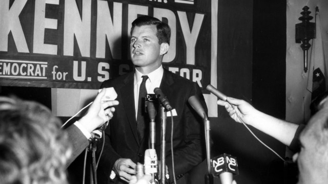 Edward M. Kennedy (Ted Kennedy) at the Hotel Touraine during Democratic Primary night in September 1962
