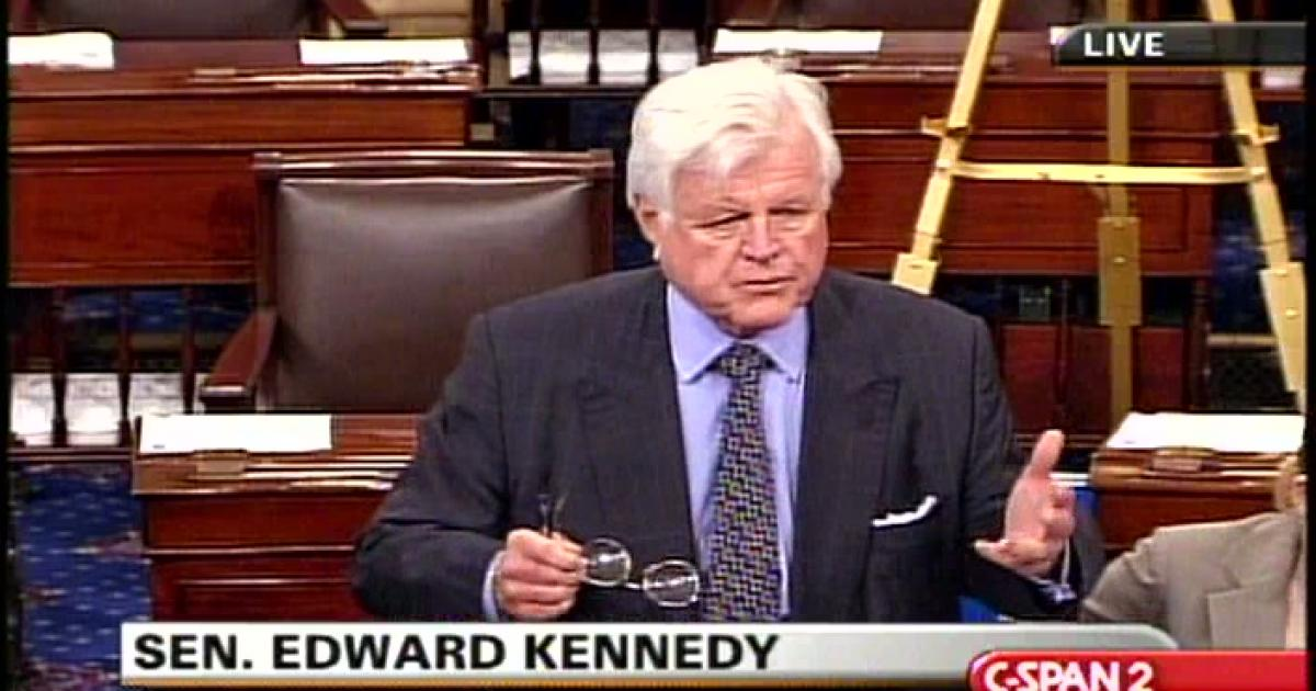 Senator Kennedy gives a speech for raising minimum wage
