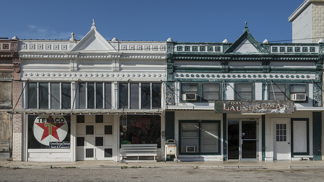 Carol M. Highsmith's photo of a downtown block, including a collectibles store (left) in the town of Hico in Hamilton County, Texas