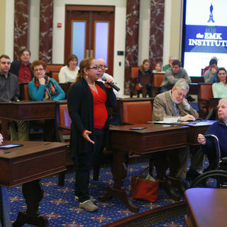Lady speaking in Senate Chamber