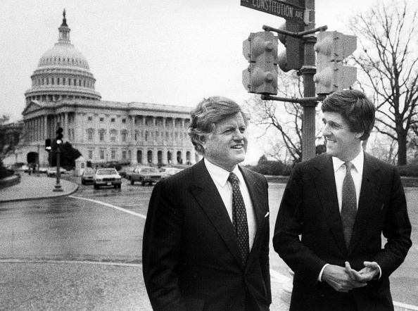 John Kerry and Senator Kennedy B&W