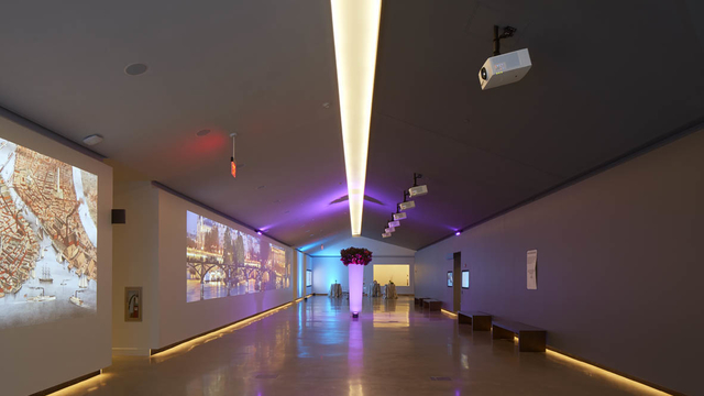 East lobby displays EMK Institute's unique space, with museum exhibits exchanged for event tailored projections