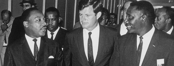 Senator Ted Kennedy talks with Martin Luther King Junior.
