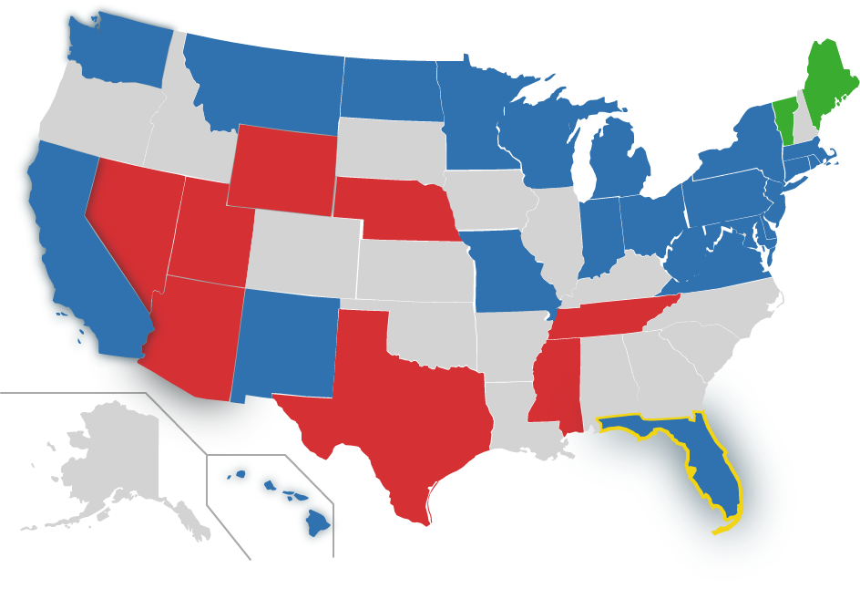 map of US, FL highlighted