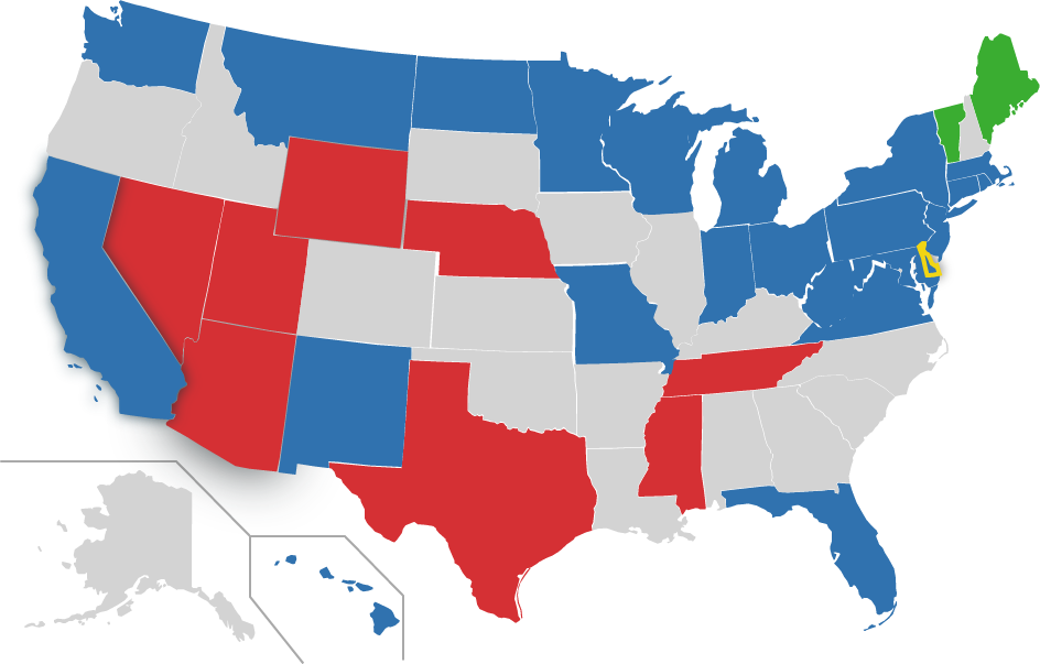 map of US, DE highlighted