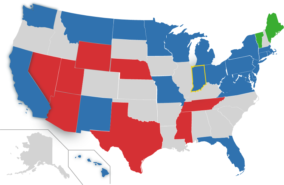 Map of US, IN highlighted