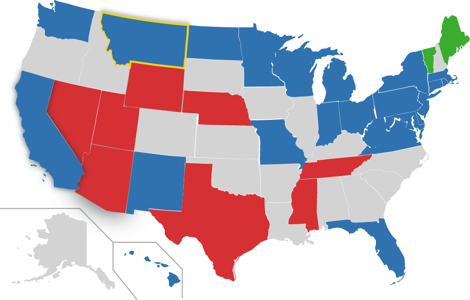 Map of US, MT highlighted