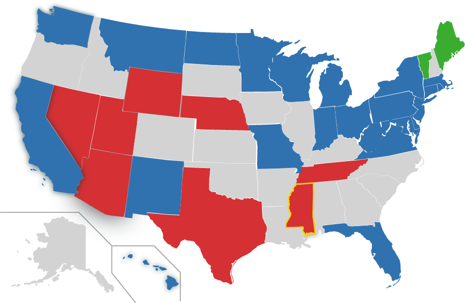 Map of US, MS highlighted