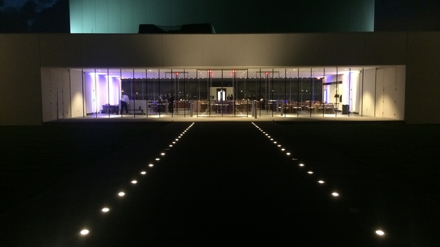 EMK main lobby event set up - seen from outside, at night