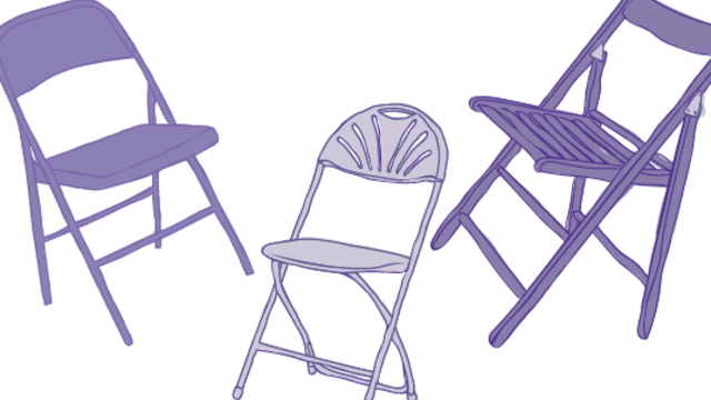 three purple chairs